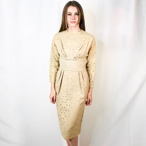 Vintage Wool Circle Embroidery 50s Bow Cream Dress